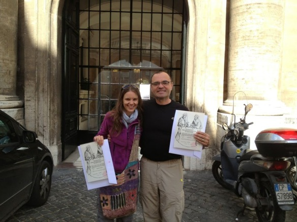 Jacqueline and I in the Vatican after a successful adventure acquiring our Testimonia.