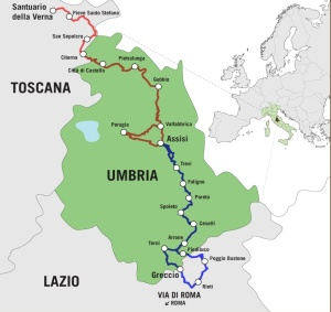 Layout of Umbria's Via di Francesco from the www.viadifrancesco.it site