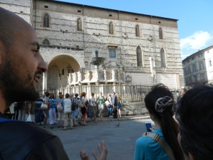 David shows our group the fountain at Piazza 4 Novembre in the heart of Perugia.