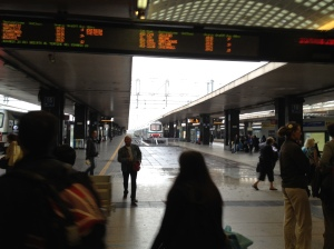 Waiting for the train at Termini Station in rainy Rome.