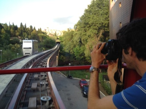 A photo of Thomas taking a photo of the MiniMetro.