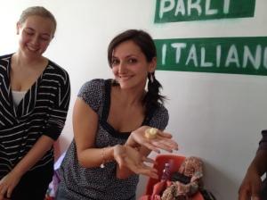 Teacher Flora schools us in correct preparation of tortellini.